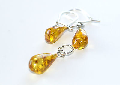 Baltic Amber Set Earrings With Pendant Sterling Silver 925