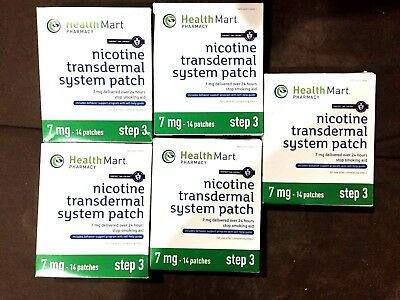LOT OF 5 ! NICOTINE TRANSDERMAL SYSTEM STEP 3 (14) PATCHES EACH 7mg EXP JULY2017