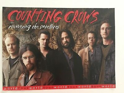 """Counting Crows Signed Autograph Poster 16"""" x 22"""" Recovering The Satellites"""