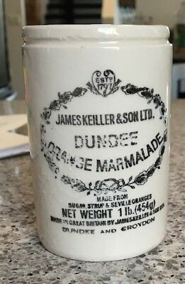 Vintage James Keiller & Son Dundee Orange Marmalade Ceramic Crock Jar 1lb 4.5""