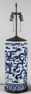 """20"""" Chinese Porcelain Blue And White 19 Inch Cylinder As Lamp"""
