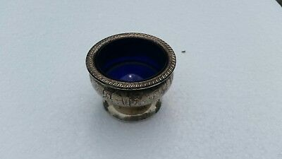 Vintage Sterling  Silver Salt Cellar ???????  W/ Cobalt Blue Glass marked 494
