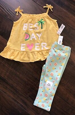 NWT Old Navy Yellow Girls Summer Outfit Lot Tank Capri Leggings Size 3T Clothes