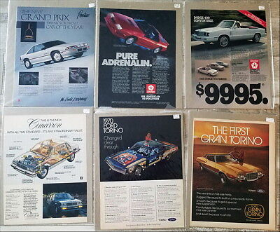 Lot of well over 100 large Automobile Car Ads 1970s 1980s 1990s