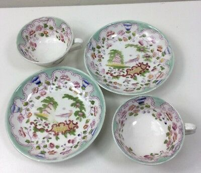 2 Antique F G B Chinese Japan Hand Painted Small Teacups & Saucers - Rope Stamp
