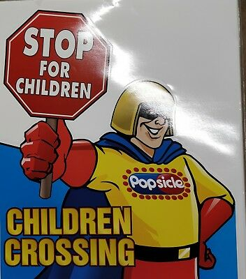 """Stop for Children Crossing - Ice Cream Truck Safety Sign Decal Sticker 20""""x23.5"""""""