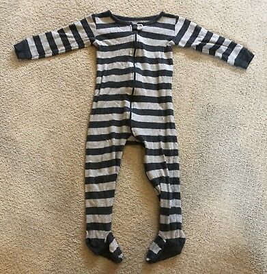 Leveret Baby Boys Grey Striped Footed Pajama 100% Cotton 18-24 Months
