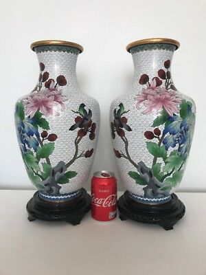 Pair Cloisonne Jingfa 17 inch with stand Large Vases ( with sticker )