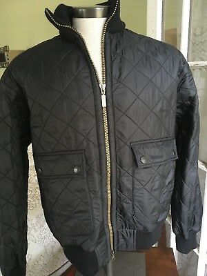 Barbour Men's Sz L Flyer Polarquilt Jacket  Black Quilted w/ribbed collar/cuffs