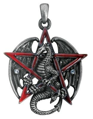 Red Star Pentagram Unisex Necklace with Dragon Wicca Wiccan Sorcery 1.6L