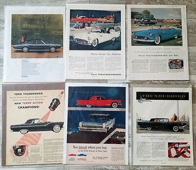 Lot of well over 75 large Thunderbird Car Ads 1950s 1960s