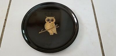 "Vintage Mid-Century Modern Couroc Of Monterey, Calif 10.5"" Owl Inlay Charger"