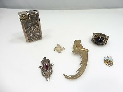 Lot Of Sterling Silver Oddities Including A Lighter, Pin  And Ring