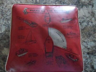 """Vintage Marine """"Rules Of The Road"""" Boat Cushion, Life Presserver"""