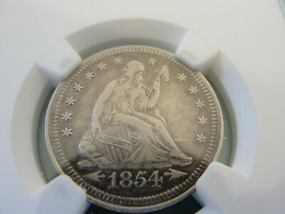 1854 NGC VF Details With Arrows Seated Liberty Quarter