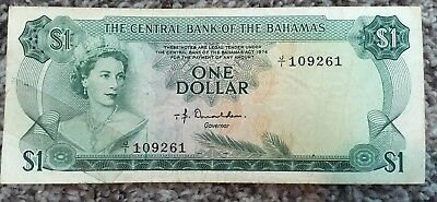 One Dollar Paper Money from the Central Bank is Bahamas