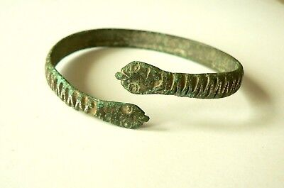 Roman Bronze Snake Bracelet Inlaid With Silver