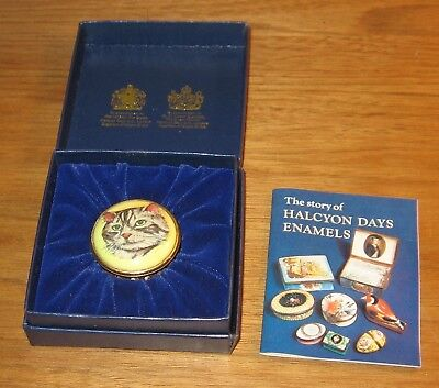 Halcyon Days Enamels Trinket Box Cat Face In Original Box with Pamphlet