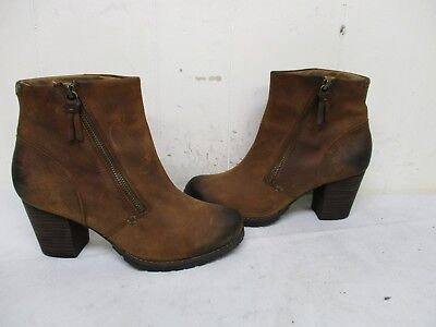 a6c9f16b0d Clarks Distressed Brown Leather Zip High Heel Ankle Boots Style 63100 Size  8.5 M