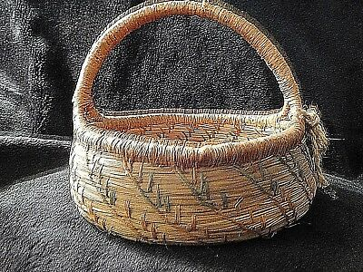 Native American Hand woven grass basket unsigned