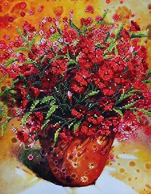 Summer Mood. 2. Kit for Beads embroidery over the fabric with printed pattern