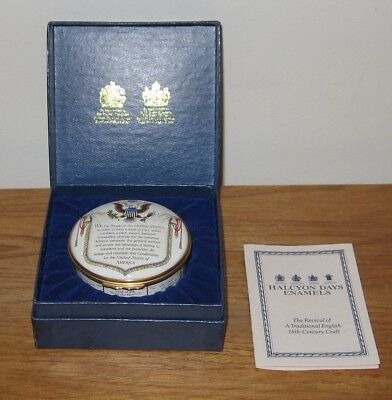 Halcyon Days Enamels Trinket Box Constitution In Original Box with Pamphlet
