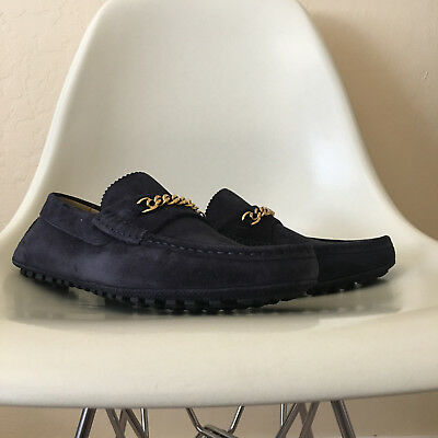 863be990893 TOM FORD Suede York Gold Chain Driver Loafers Navy Sz 12 J1080T-CGS  790 NEW