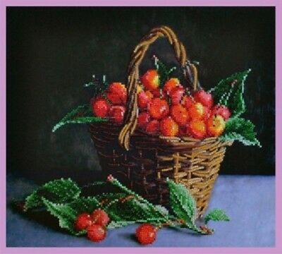 Basket Sweet Cherry. Kit for Beads embroidery over the fabric with printed patte