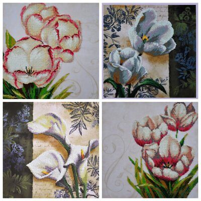 Lot of 4 DIY Kits for Beads embroidery over the fabric with printed pattern.