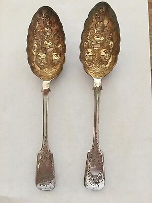 Pair of English Silver Plate Gold Washed Berry Spoons