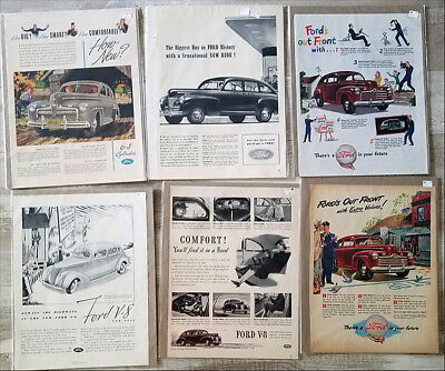 Lot of over 200 large Ford Car Ads 1930s 1940s 1950s 1960s