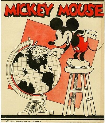MICKEY MOUSE Drawing, 1930, clipped from book