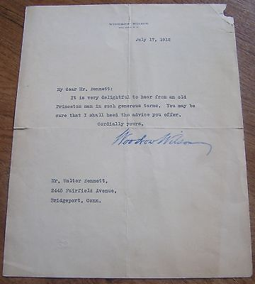 1912 Woodrow Wilson Autographed Letter Before Presidency As Governor New Jersey