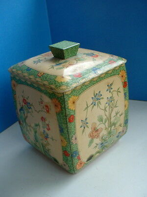 Vintage Tin Tea Caddy Japanese Design