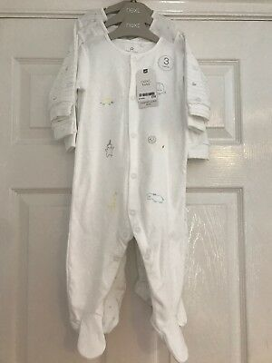 NEXT Baby White Sleepsuits 6-9 Months BNWT