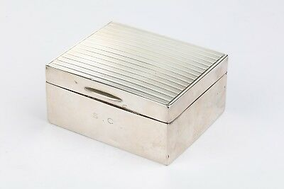 George V sterling silver art deco cigarette jewellery  box London 1919 by Wright
