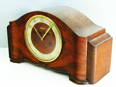 Beautiful Pure Art Deco Design Chiming Mantel Clock From Junghans With Pendulum