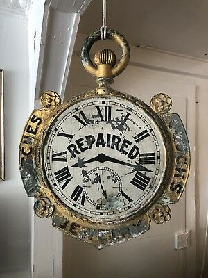 Double Sided Antique Watch Jewelry Trade Sign Advertising Clock