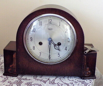 Antique Dark Wood Smiths of Enfield Mantel Clock for Parts/Repair with Key chime