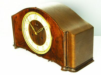 Beautiful Pure Art Deco Design Chiming Mantel Clock From Kienzle With Pendulum