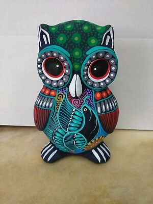 "Hand Made Medium Ceramic Owl  Bank , Multicolor ,one Of A Kind ,7"" X 5 "" #2"