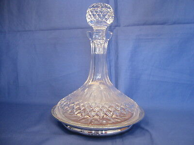 Waterford Crystal Ships Decanter With Hallmarked Silver  Stand (B'ham 1973)