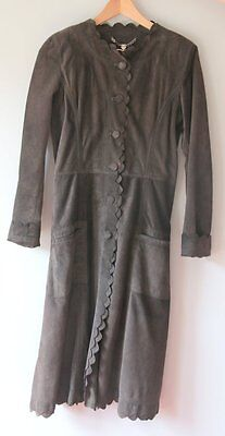 Gorgeous Luella Belted Full Suede Coat in Brown w/ Scalloped edges Small / 40