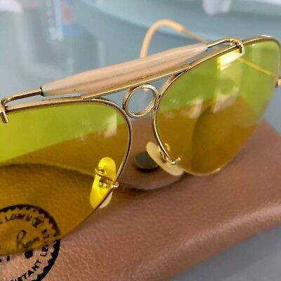 0f69fb684ac48 ... wholesale vintage gold bullet ray ban bausch lomb aviator yellow  shooting glasses case 3d32e 1d1ef
