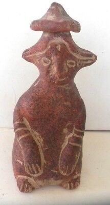 Vintage Mayan /aztec Red Clay Pottery Figurine  Signed Armando De.mexico