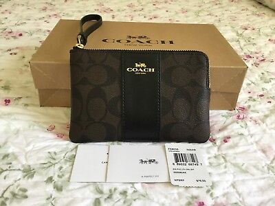 Authentic Coach Signature PVC Leather Brown/Black Corner Zip Wristlet F58035.