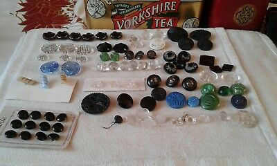 Joblot of antique & vintage glass buttons,french jet plus others x 80