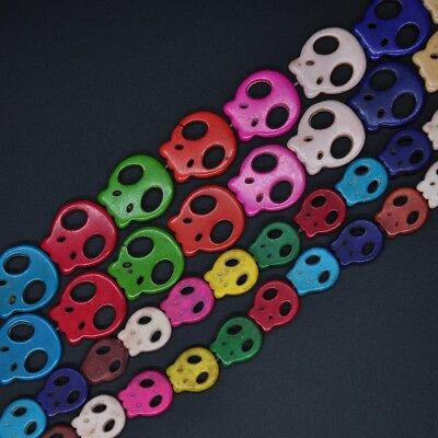 Mixed Color Howlite Turquoise Skull Head Stone Carving Spacer Loose Beads Charms