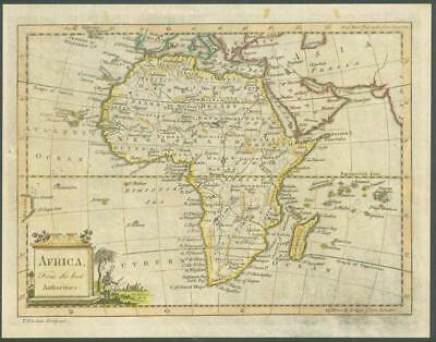 """1770 - Rare Original Antique Map """"AFRICA"""" by T KITCHIN Hand coloured"""