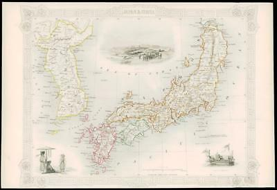 "1850 Illustrated Antique Map ""JAPAN & COREA"" KOREA Asia by TALLIS (138d)"